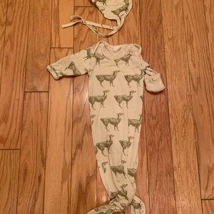 Infant gown and flight cap llama print